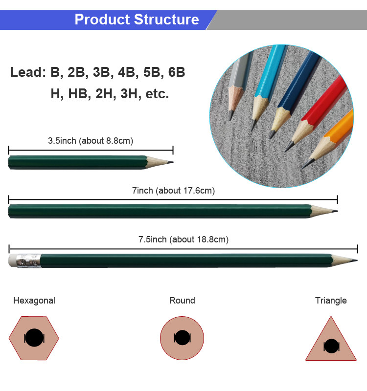 18 Years Manufacturer High Quality Wooden HB Sketch Pencil with Eraser