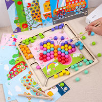 Kids Wooden Clip Beads Toy Montessori Early Children Wooden Clips Small Ball Puzzle Board Fun Chopsticks Practice Kit Game Toy