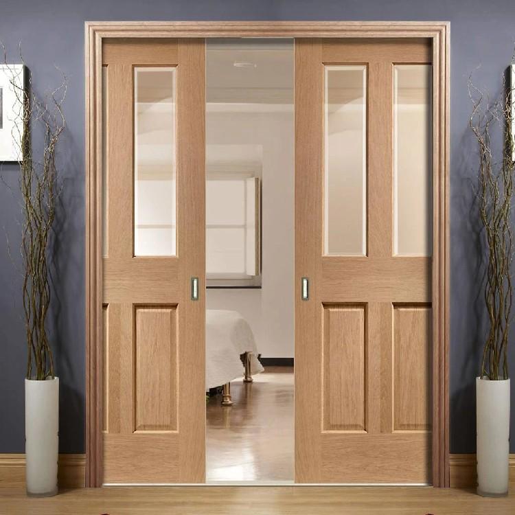 Solid Wooden Framed Double Pocket Door