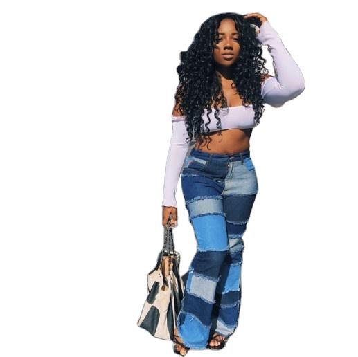 Pantalones Vaqueros Acampanados De Talla Grande Para Mujer Jeans De Cintura Alta De Retales Lavados Novedad De 2021 Buy Pantalones De Mujer Jeans Pantalones Vaqueros De Cintura Alta Product On Alibaba Com