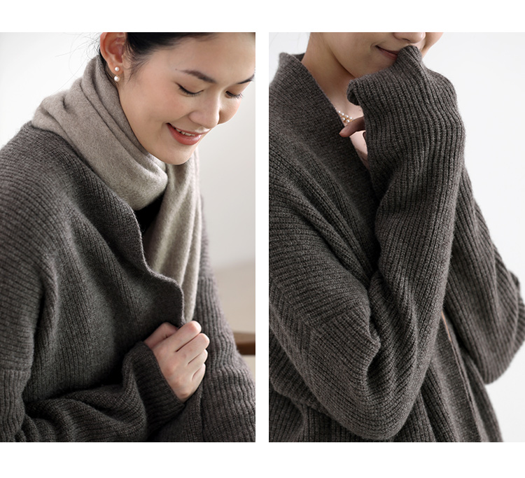 2020 NEW winter factory  women ribbed wool cashmere long cardigan knitting thick warm sweater with long sleeve pocket cardigan