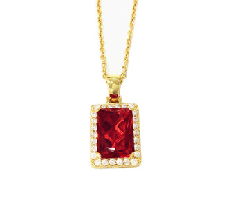 Ruby Pendant 18k Gold Plated Color Big Red Stone Pendant Charm Jewelry with Necklace