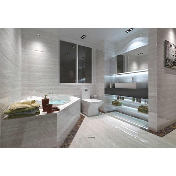 Bathroom Large Tiles Wood Stone Wall