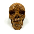 New Product Natural Crystal Skulls Reiki Gemstone Crystal Art Sculpture Human Skull golden jade Skull For Healing