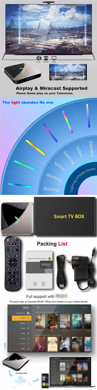 2020 Pendoo x12 S905X3 Set Top Box 4k 4+32GB Dual Wifi USB3.0 Smart android tv Box
