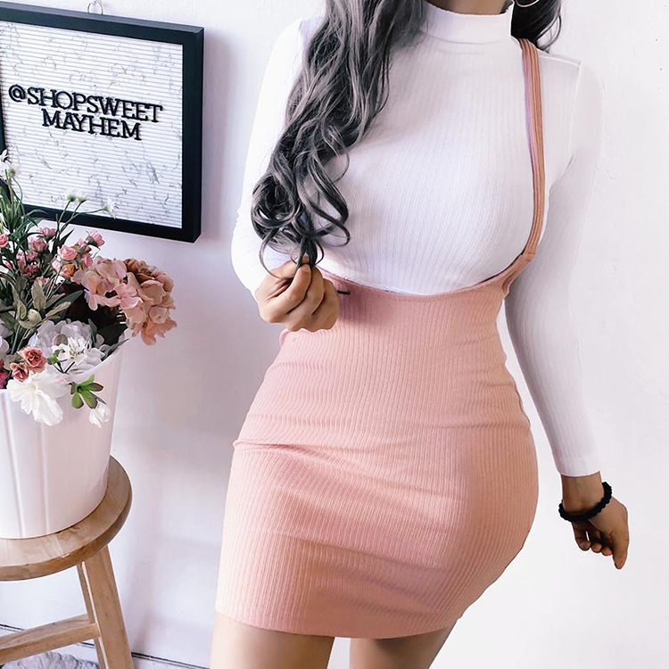 Fashion Clothing for Lady 2020 Pink Hot Sale Solid Suspender Mini Skirt For Women