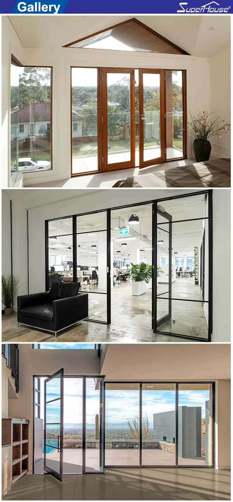 AS2047 NFRC AAMA NAFS NOA standard Thermal break double glass aluminium french doors for sales