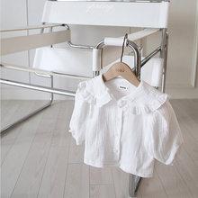 Осенняя новая Корейская футболка с длинным рукавом для маленьких девочек, белая блузка с оборками для девочек, одежда для маленьких девочек...(Китай)