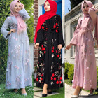 Modest 3D flowers islamic embroidery lace dress floral kimono cardigan kaftan abaya in dubai