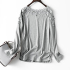 2019 women top selling casual Lace long sleeves T shirt