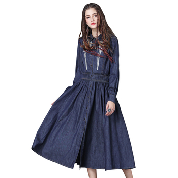 New Fall 2019 Women Clothing Brand Embroidered Denim Skirt A Vintage Pleated Dress Long Sleeves Narrow Waist Indian Skirt