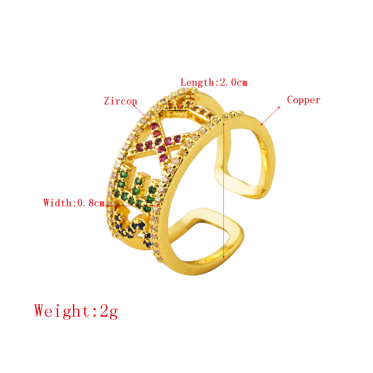 2020 European Fashion Hips Hops Mirco Pave Cubic Sexy Letter Ring Adjustable Open Rainbow CZ Sexy Ring For Man