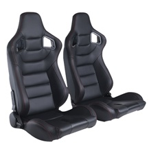 Black PVC Carbon Look With Single Slider And Single Adjustor For Automobile Car Use Sports Racing Seat