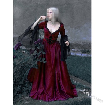 2019 5xl  4xl Women Vintage Medieval Dress Renaissance Gowns Dark Gothic Floor Length Dress Sexy V Neck Fantasy Cosplay Dresses