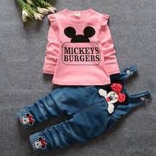 2 шт., одежда для маленьких мальчиков и девочек, футболка с длинным рукавом и изображением Минни, джинсовый комбинезон с нагрудником, наряды ...(Китай)