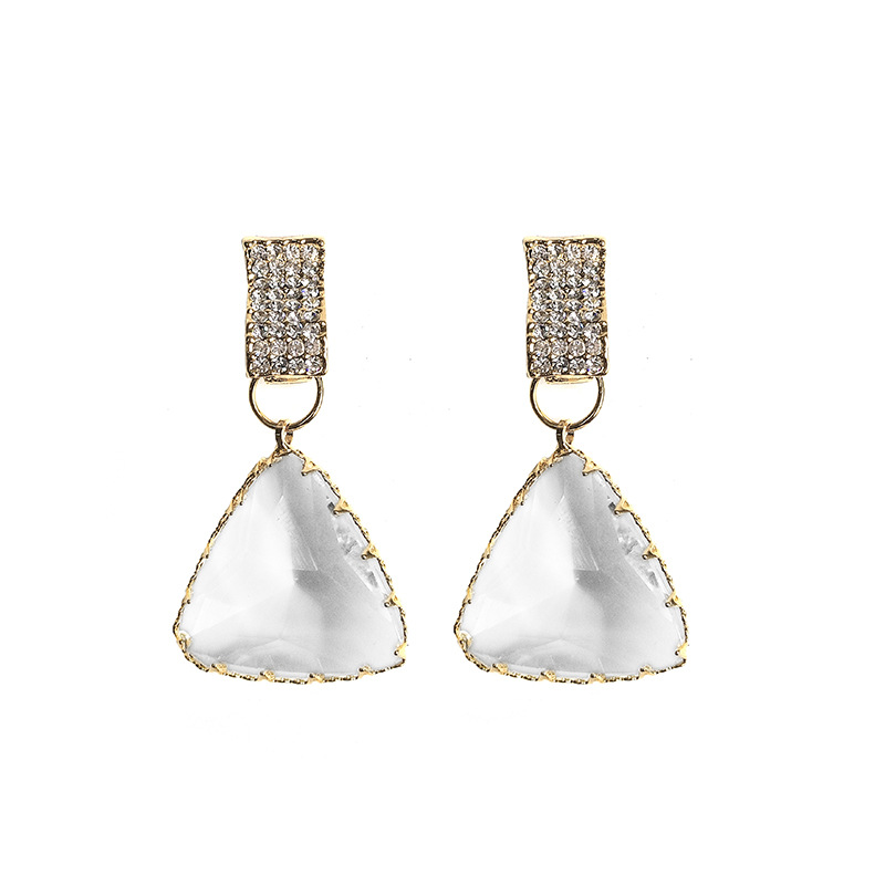925 <strong>Sterling</strong> <strong>Silver</strong> Needle Gold Plated Geometric Crystal Teardrop <strong>Earrings</strong> Triangle Crystal <strong>Drop</strong> <strong>Earrings</strong>