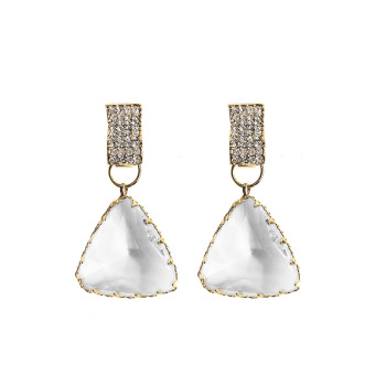 925 Sterling Silver Needle Gold Plated Geometric Crystal Teardrop Earrings Triangle Crystal Drop Earrings