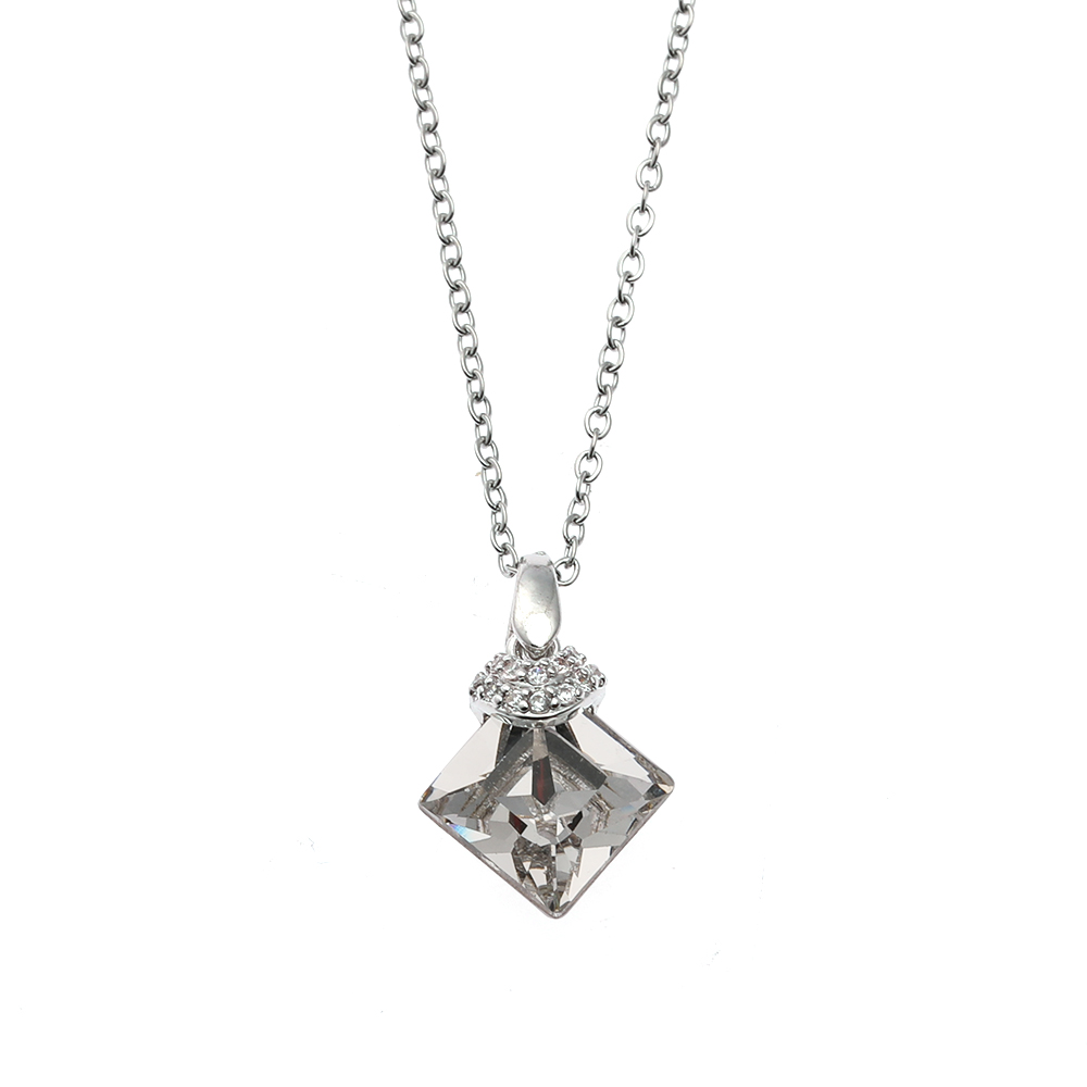 DE00056 ONYSS <strong>Crystal</strong> From Swarovski Square Shape <strong>Clear</strong> White <strong>Crystal</strong> Pendant Necklace For Thanksgiving Gifts