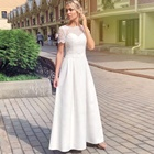 Modest Elegant Beach Style A Line Floor Length Wedding Dresses With Short Sleeve