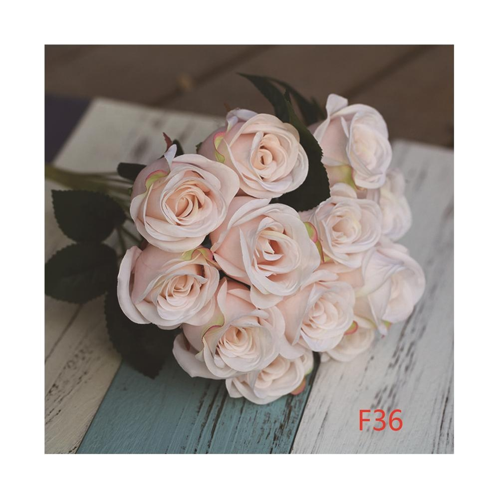 LFR113 Wholesale 12 arms wedding decorations artificial blush pink rose bouquet