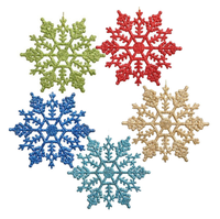 Wholesale christmas hanging ornaments plastic glitter snowflake