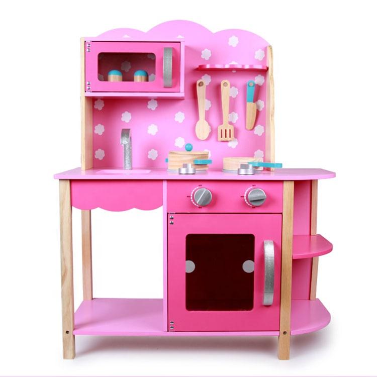 Kids pretend kitchen cooking game children Pink wooden kitchen toy play set for baby