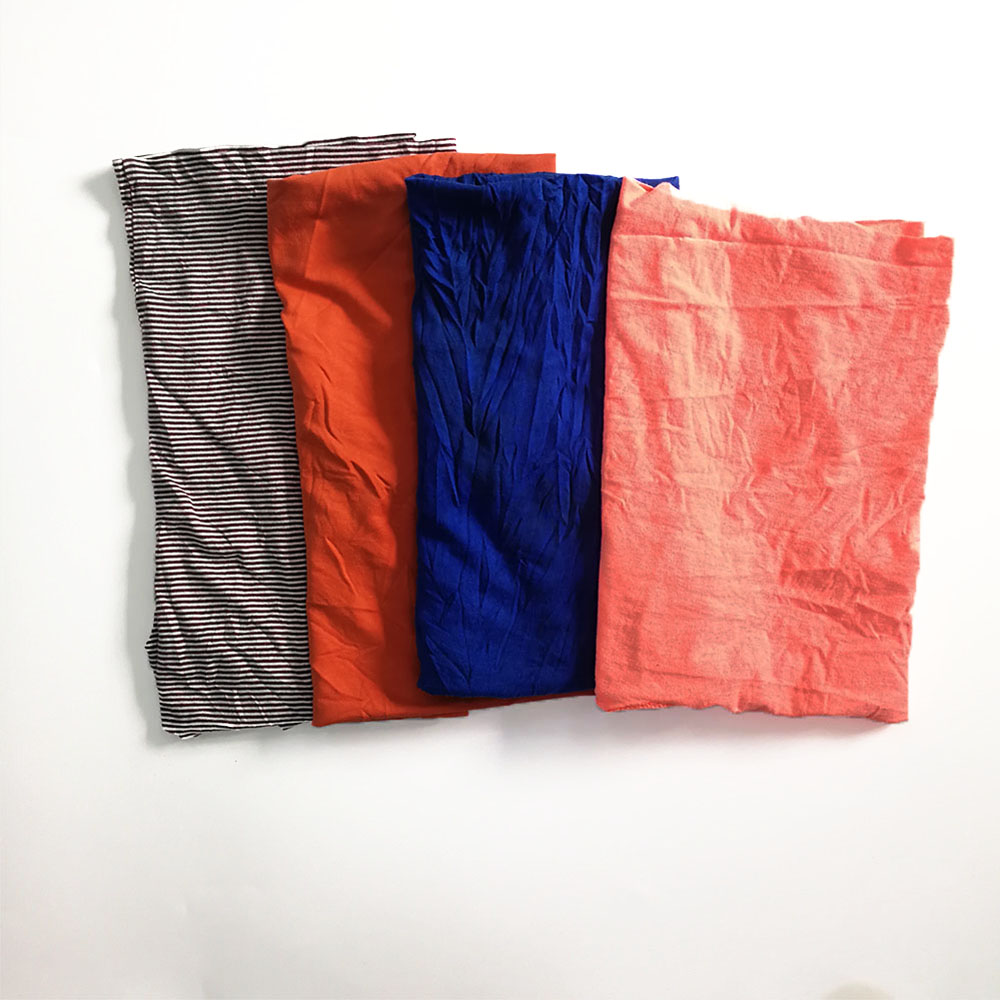 Dark color mixed used cloth industrial cleaning t shirt 100& cotton wiping rags