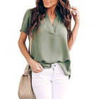 OEM Women summer casual V neck loose tunic short sleeve split tops chiffon designer fashion blouse