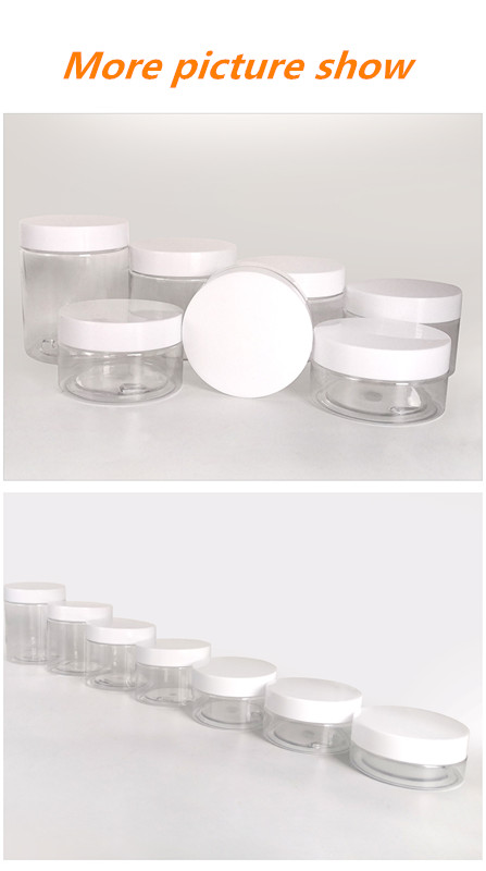 wholesale 30ml 50ml 80ml 100ml 120ml 150ml 180ml clear PET plastic jar with aluminum plastic screw lids for cream packaging