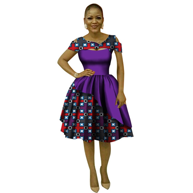 Casual Loose Print Lace Dresses Bazin Riche African Print Dresses for Women Traditional Plus Size African Clothing Party WY3038