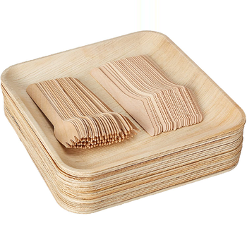 Amazon Hot Selling Areca Palm Leaf Plates Eco Friendly Biodegradable Wood Bamboo Plate Tableware Cutlery Bowls From India