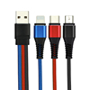 Multi Charger Cable Nylon Braided 3 in 1 USB Charging Cord Adapter With 8 Pin/Type-C/Micro USB Port Connectors