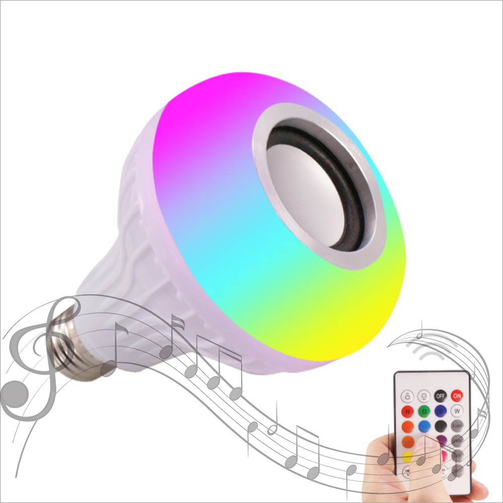 Di Vendita superiore RGB E27 intelligente di controllo remoto luce di colore lampadina b22 wifi led con altoparlante bluetooth