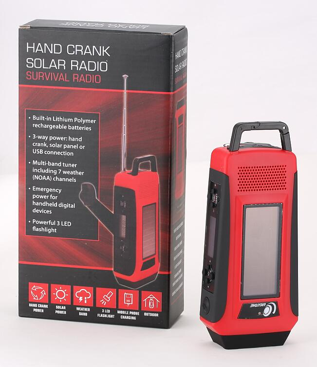 LCD Emergency Survival Solar Hand Crank Self Powered AM/FM/WB NOAA Digital Radio with Flashlight+Smart phone Charger