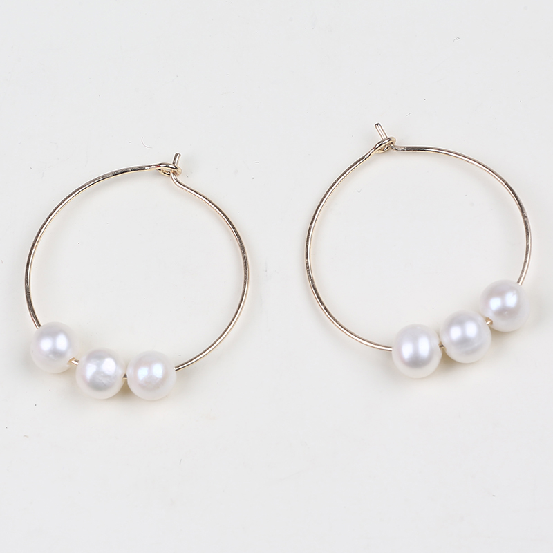 Latest custom freshwater pearl gold earrings