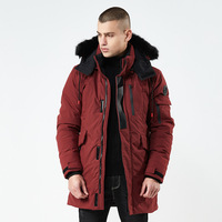 Wholesale medium long thick windproof and waterproof winter coat men with hoodie