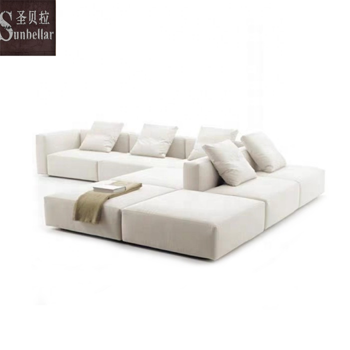 living room furniture sofa set 7 seater sectional modular living room sofa fabric DIY square couch sofa