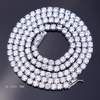 2019 men high quality 925 silver Solitaire cz 6mm tennis necklace