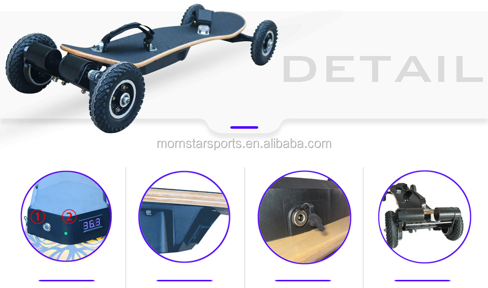 Popular Dual Hub Motor Electric Mountain Skateboard With Remote Control