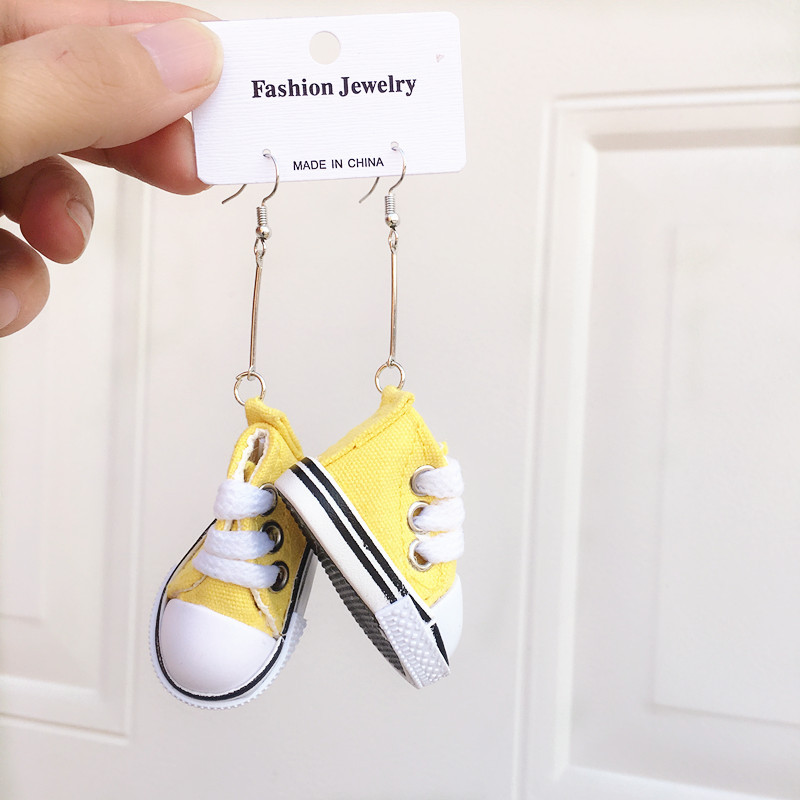 Personalized long pendant earrings jewelry creative canvas shoes earrings wholesale
