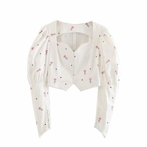 Square Neck Sexy Fancy Tops Shirts Puff Long Sleeve White Tunic crop Wrap low collar women Floral pattern blouse ladies