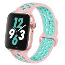 Силиконовый ремешок для Apple watch band 44 мм/40 мм 42 мм/38 мм, дышащий iWatch 42 38 40, Браслет Apple watch series 5 4 3 2 1 44 мм(Китай)