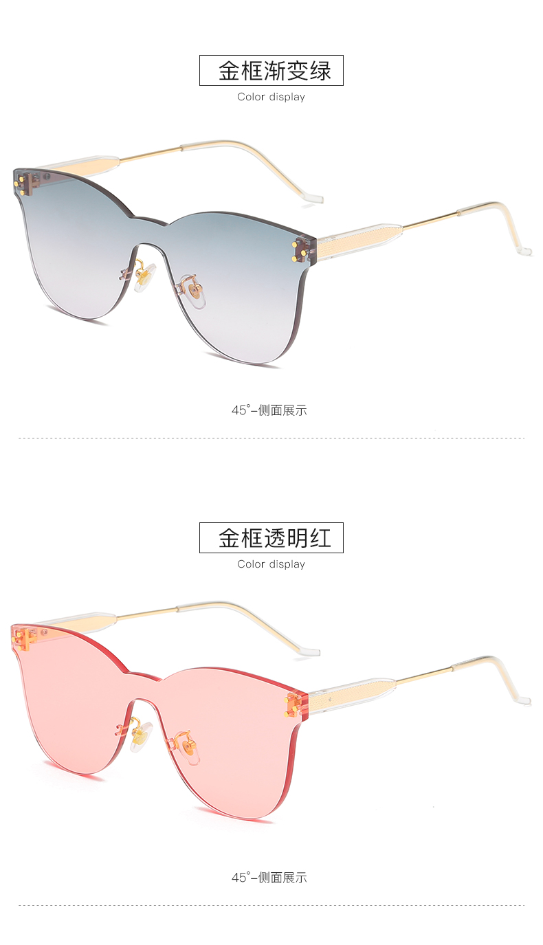 THREE HIPPOS 2020 womens glasses One piece Frameless Sunglasses 88034 UV400 round Gradient color Shades aesthetic Sun Glasses