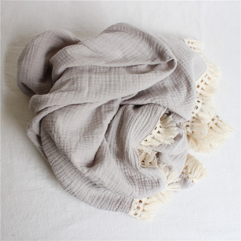 Customize Baby Muslin Swaddle Blanket Solid Color 2 Layers Gauze Cotton Tassel Swaddling Wraps for Newborn Photography Blankets