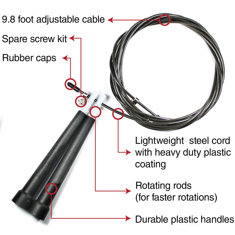 Hot Selling High Speed PVC Handle Adjustable Jump Rope For Fitness