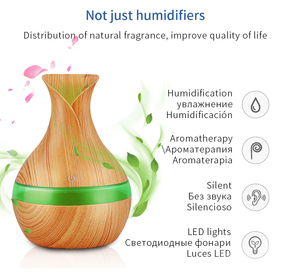 2020 Pengwing New Amazon Desktop Office Home Wooden Grain Exquisite Usb Portable humidifier