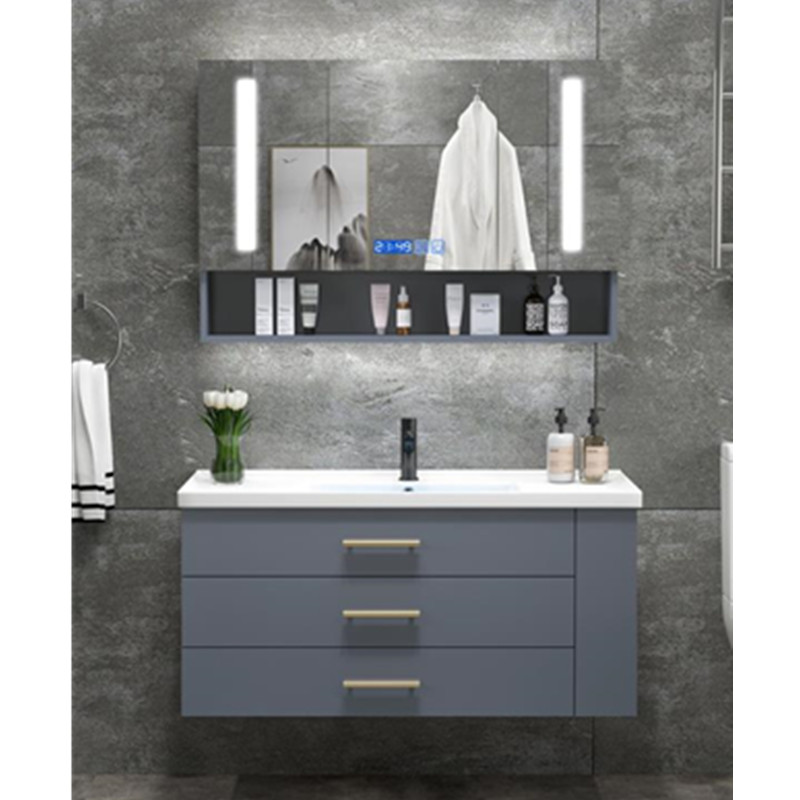 Modern banyo makyaj dolabı katı yüzey vanity top tasarım