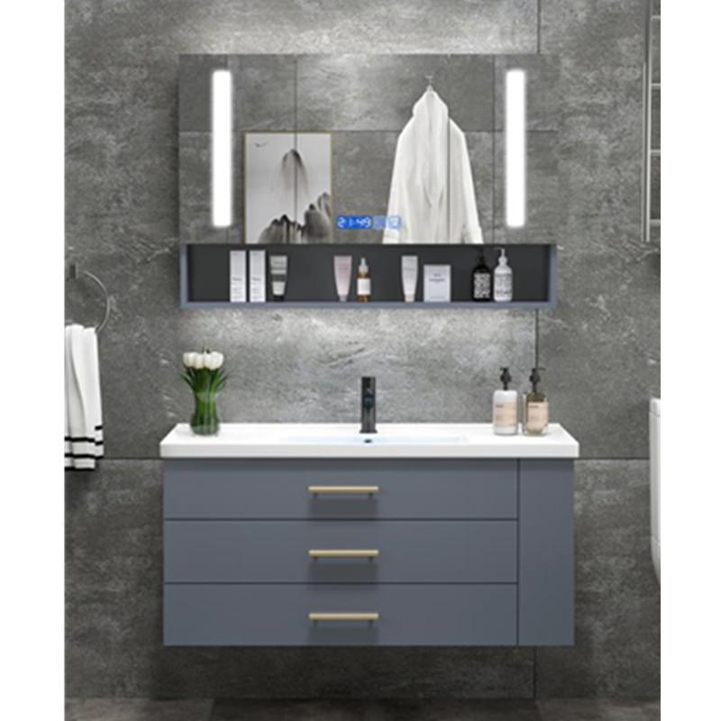 Banyo Vanity ahşap banyo dolabı PVC banyo dolapları lavabo ile