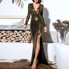 Plunge Neck Split Thigh Sequin Maxi Evening Dress Sexy