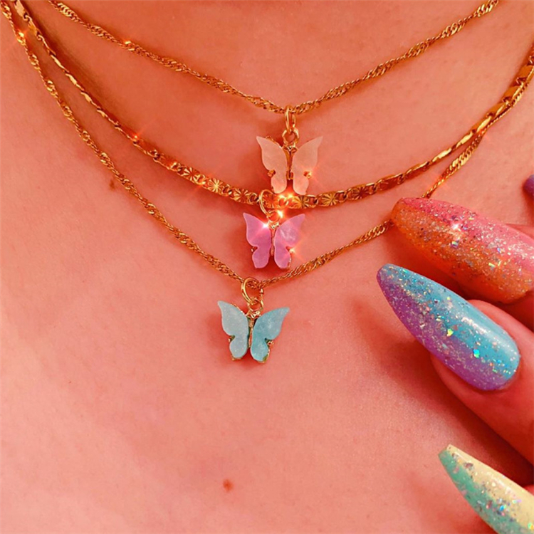 New Arrival Hotselling Personalized Women Colorful Butterfly Pendant Necklace Clavicle Chain Acrylic Butterfly Choker Necklace